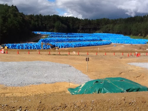 Temporary storage site for radioactive waste at Kawauchi, Japan. In October 2013 Dr Brenda Howard  of CEH was part of an International Atomic Energy Agency international expert mission to  review remediation efforts in areas affected by the Fukushima Daii