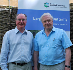 Prof Jeremy Thomas (left) and David Attenborough, pictured at an event celebrating the reintroduction of the Large Blue butterfly to Britain