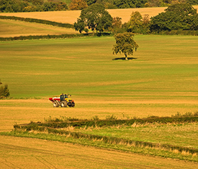 A tractor on farmland with hedgerows