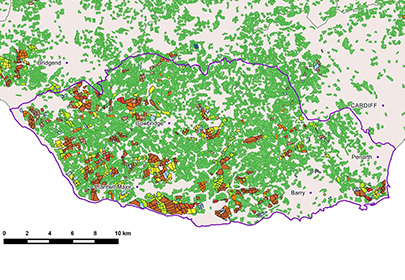 Vale of Glamorgan county borough in CEH Land Cover plus Crop Map 2015