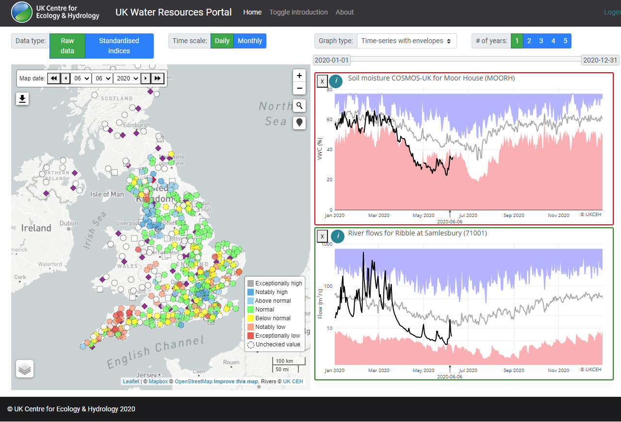 Map and graphs from the UK Water Resources Portal