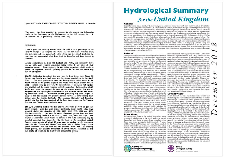 Text showing England and Wales Water Situation Review 1988/89 on left and December 2018 Hydrological Summary for the United Kingdom