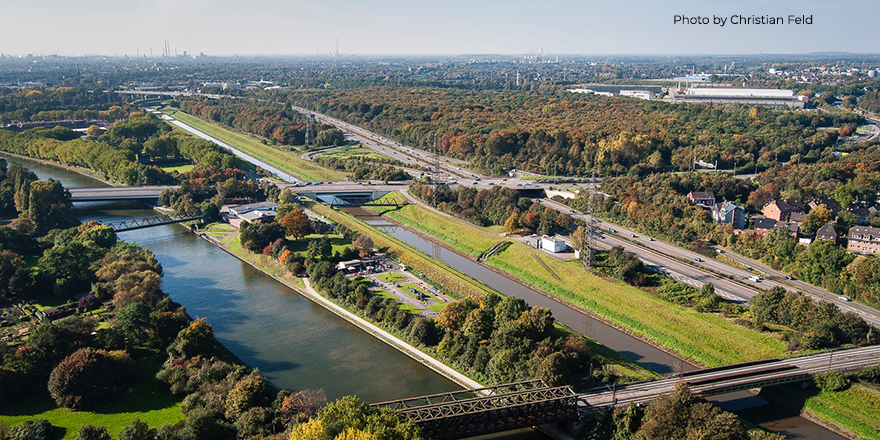 Overhead view of Ruhr Metropolitan area, Germany