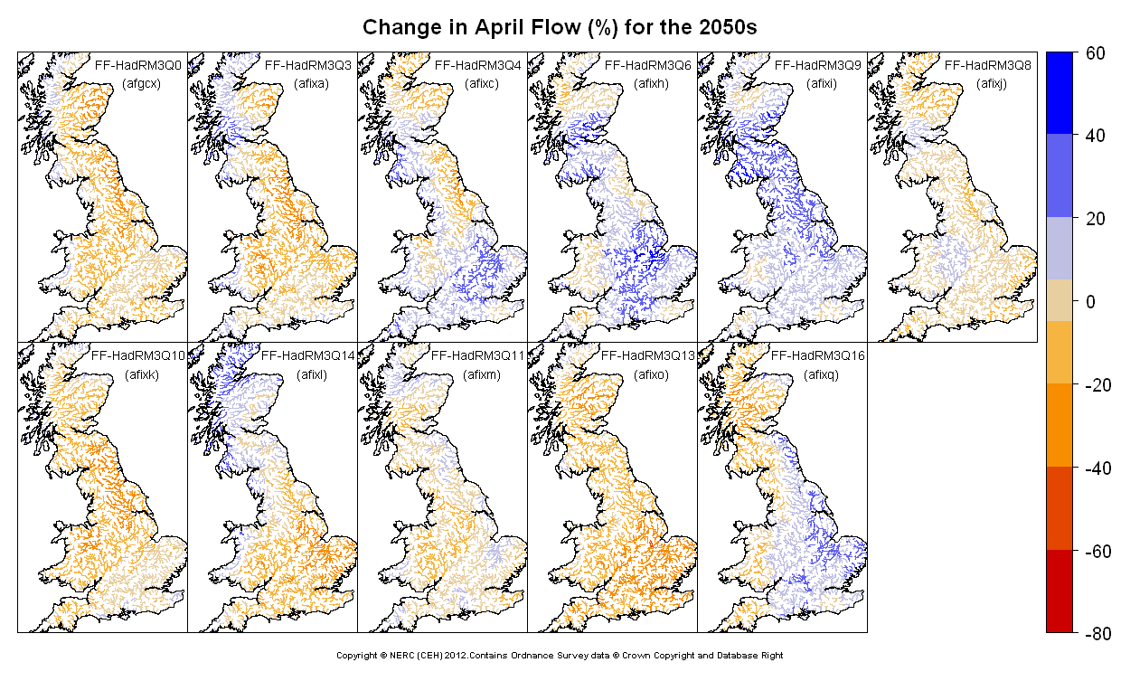 Changes in April flow for the 2050s obtained from CERF driven by Future Flows Climate changes