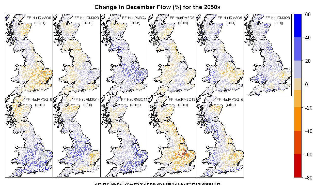 Changes in December flow for the 2050s obtained from CERF driven by Future Flows Climate changes
