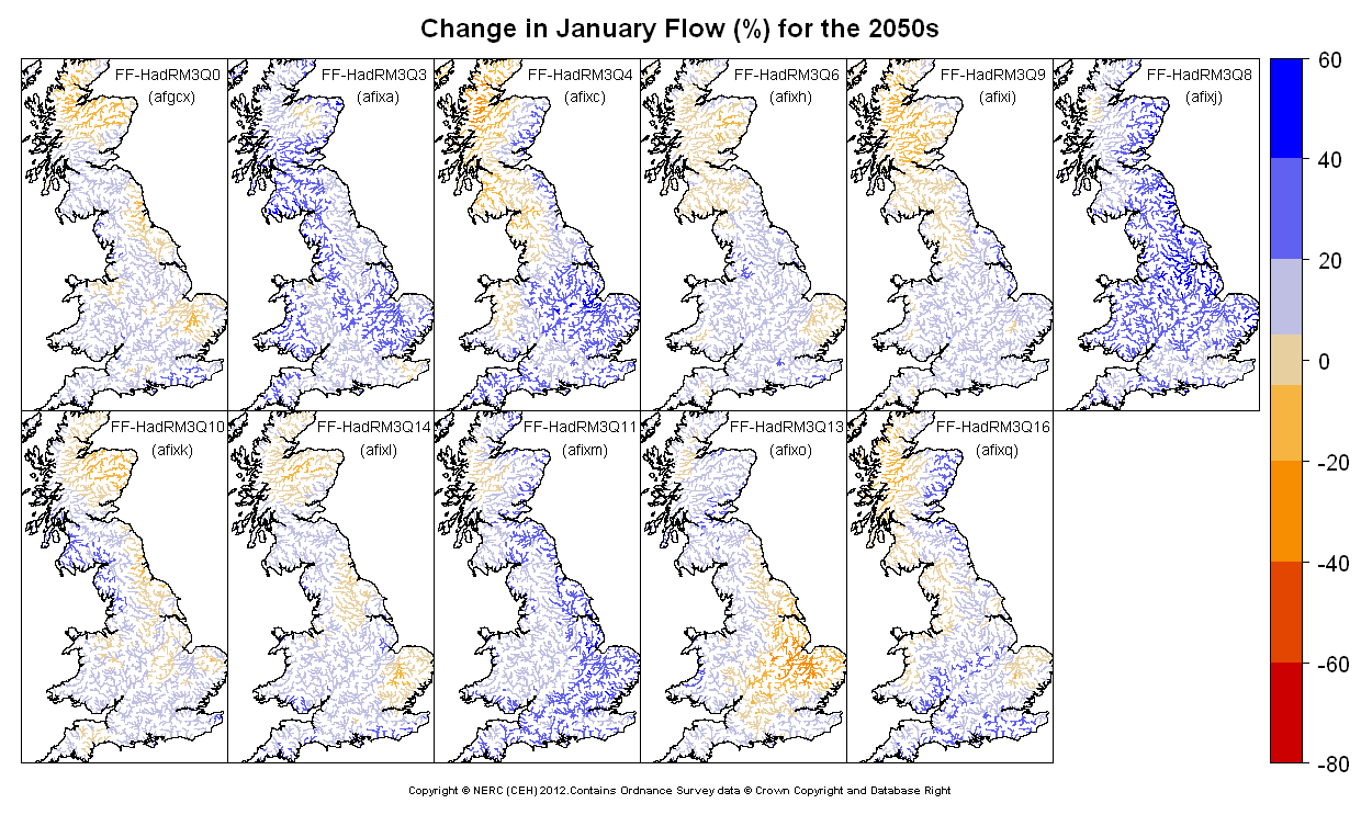 Changes in January flow for the 2050s obtained from CERF driven by Future Flows Climate changes