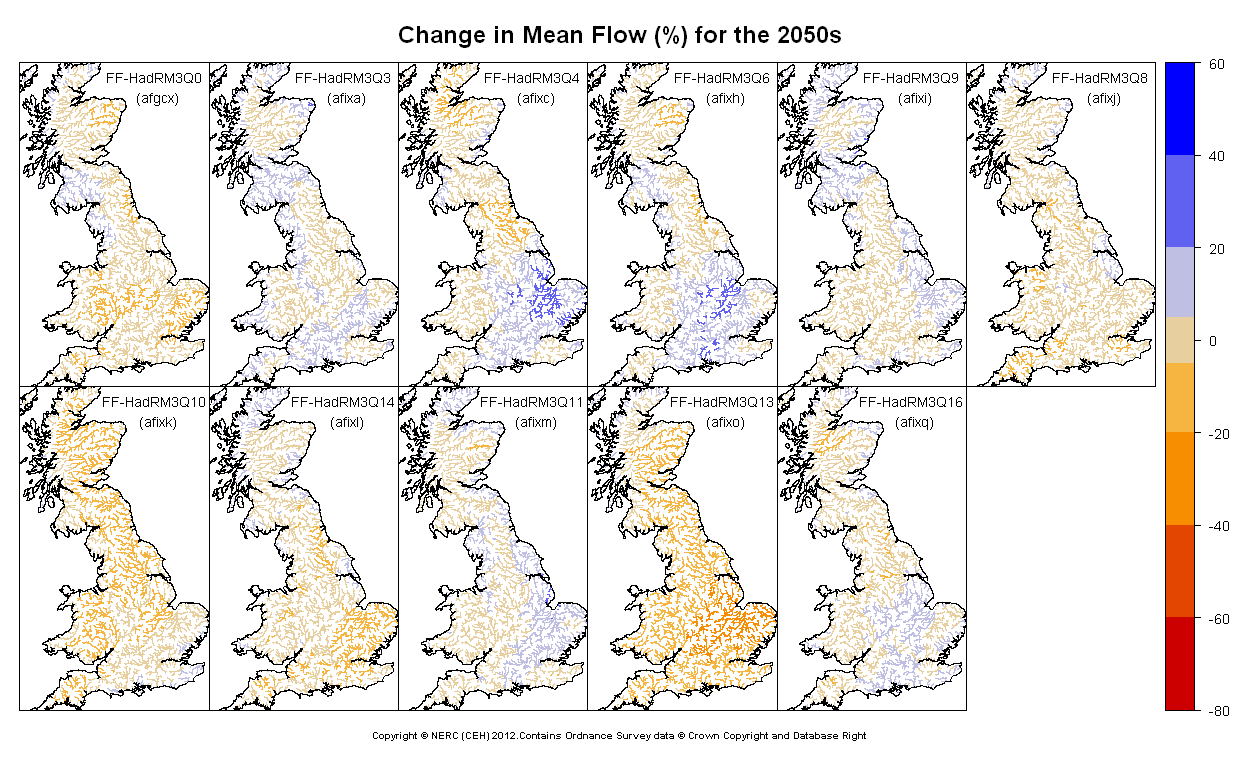 Changes in mean annual flow for the 2050s obtained from CERF driven by Future Flows Climate changes