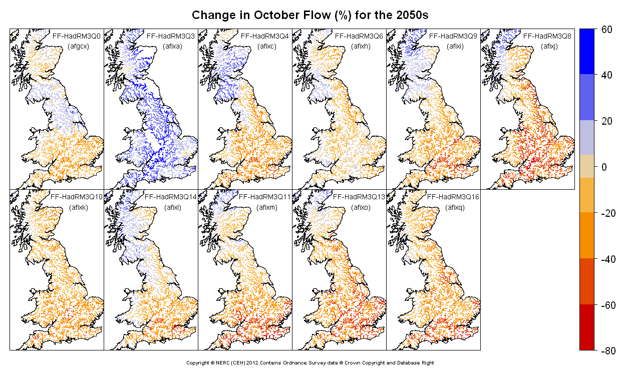 Changes in October flow for the 2050s obtained from CERF driven by Future Flows Climate changes