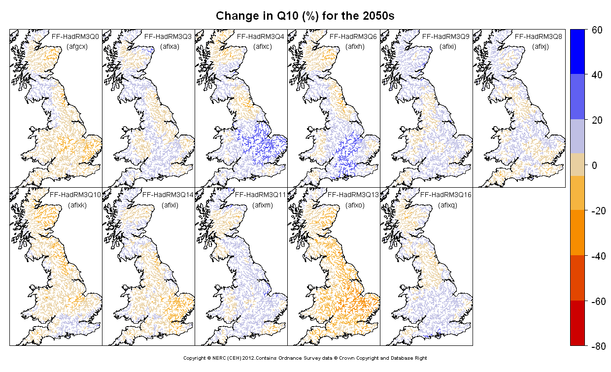 Changes in Q10 for the 2050s obtained from CERF driven by Future Flows Climate changes