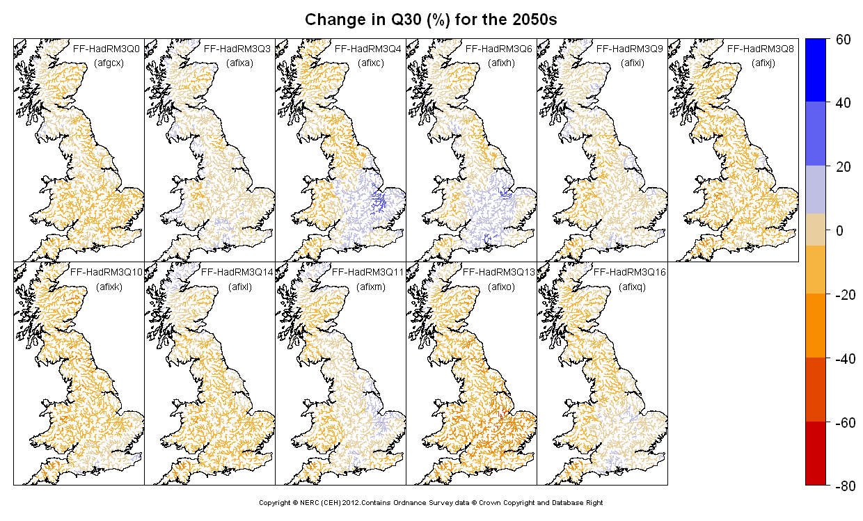 Changes in Q30 for the 2050s obtained from CERF driven by Future Flows Climate changes