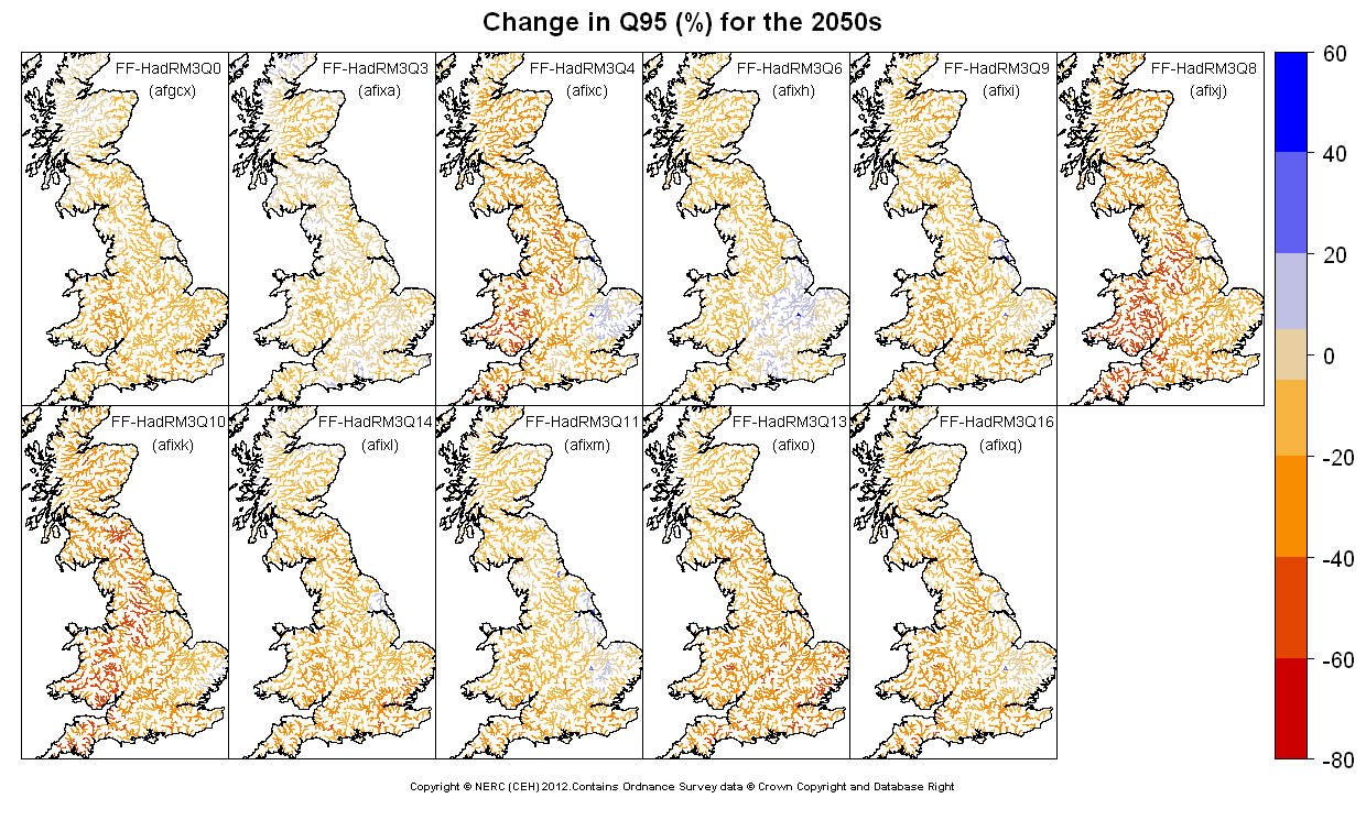 Changes in Q95 for the 2050s obtained from CERF driven by Future Flows Climate changes