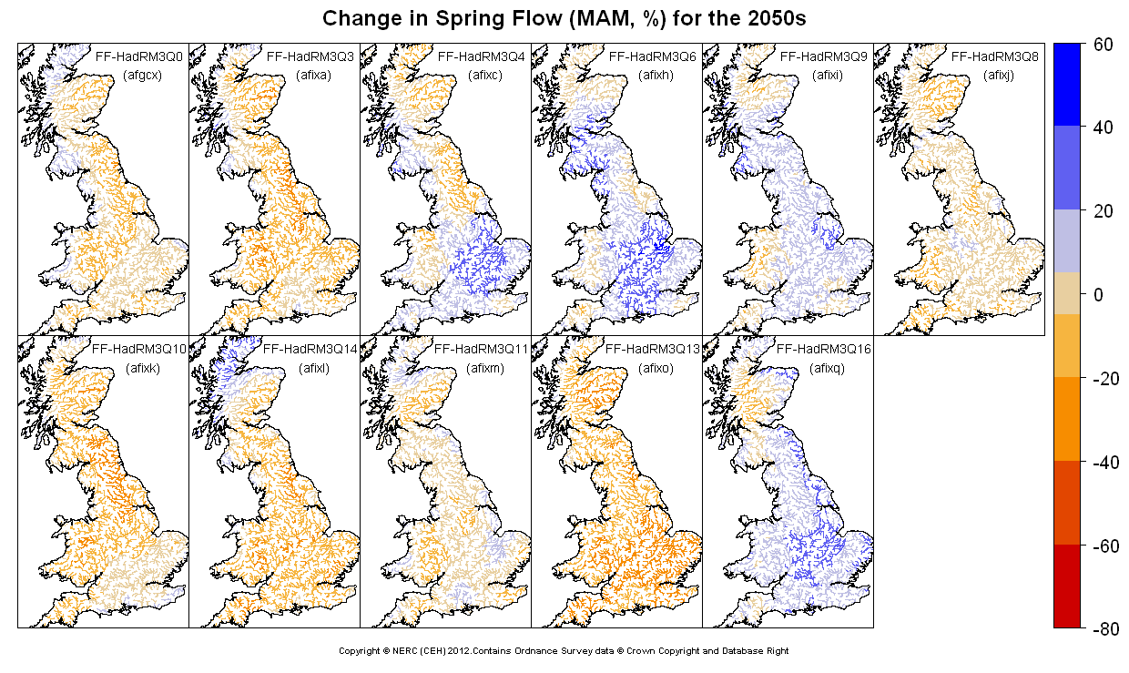 Changes in spring (MAM) flow for the 2050s obtained from CERF driven by Future Flows Climate changes