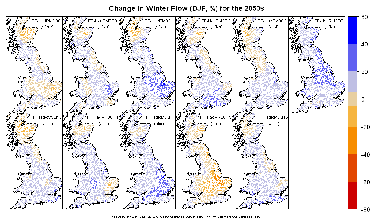 Changes in winter (DJF) flow for the 2050s obtained from CERF driven by Future Flows Climate changes