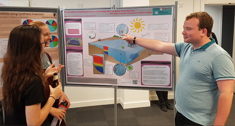 Students standing beside a scientific poster